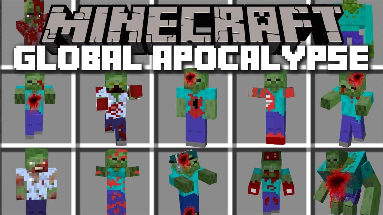 Minecraft GLOBAL ZOMBIE APOCALYPSE MOD / FIGHT OFF FLESH EATING ZOMBIES!!  Minecraft