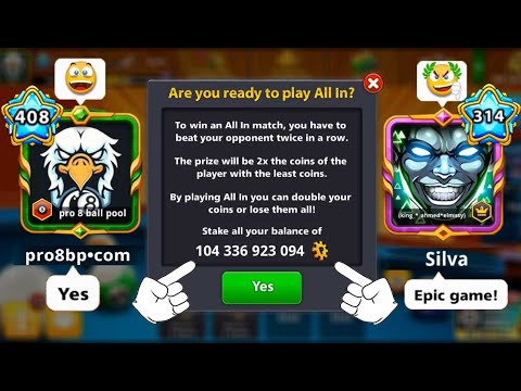 8 Ball Pool All In 104B Coins Level 408 👋 Alert On My Account