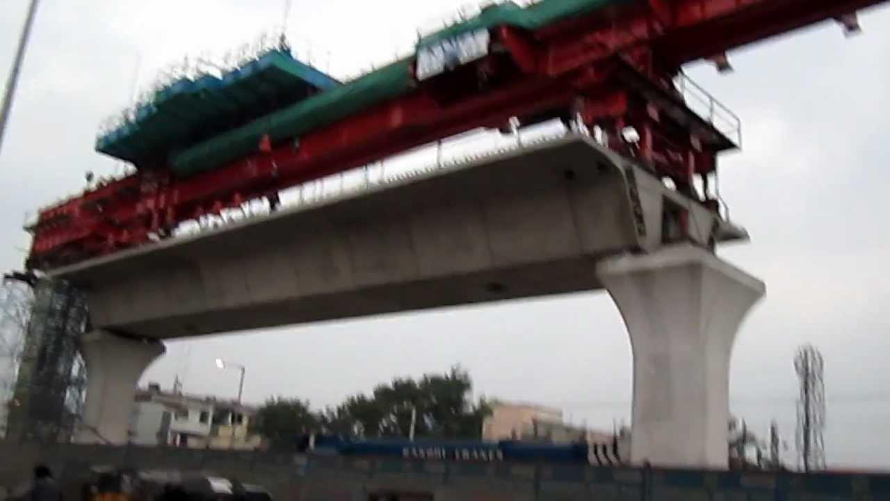 Hyderabad Metro Rail Launching Girder Near Uppal Rta