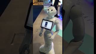 Artificial intelligence robot 'Pepper' greet customers at Emirates NBD