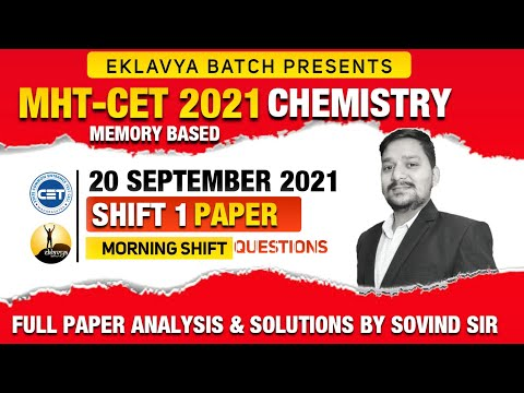 MHT-CET  2021 CHEMISTRY - 20th SEPT MORNING SHIFT  Full Paper Analysis and Solutions by SOVIND SIR