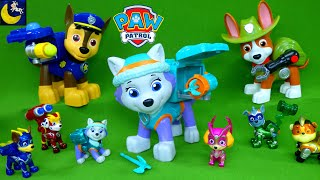 Complete Collection of Paw Patrol Toys Jumbo Pups Everest Tracker Mighty Pups Super Paws Toy Videos!