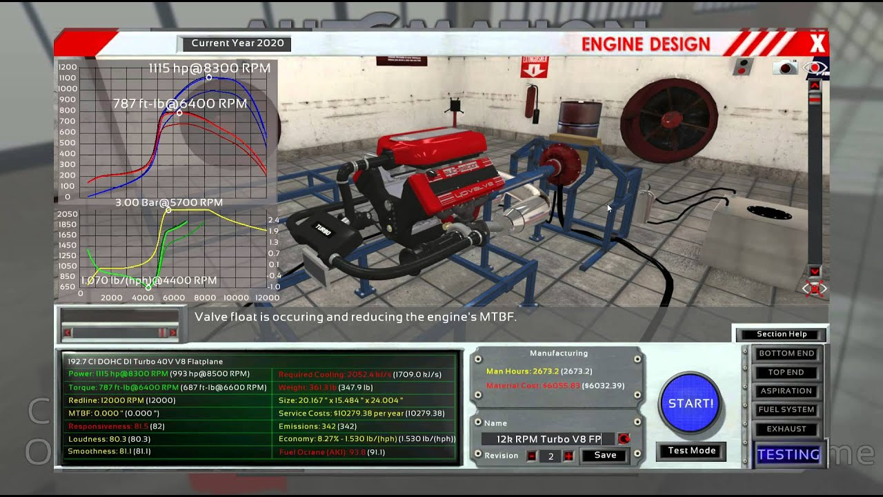 Realistic Engine Building Game 009 12 000rpm 1000hp V8