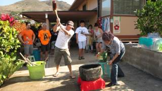 2012 Annual Mochi Pounding in Kailua Hawaii 4-Man Pound.