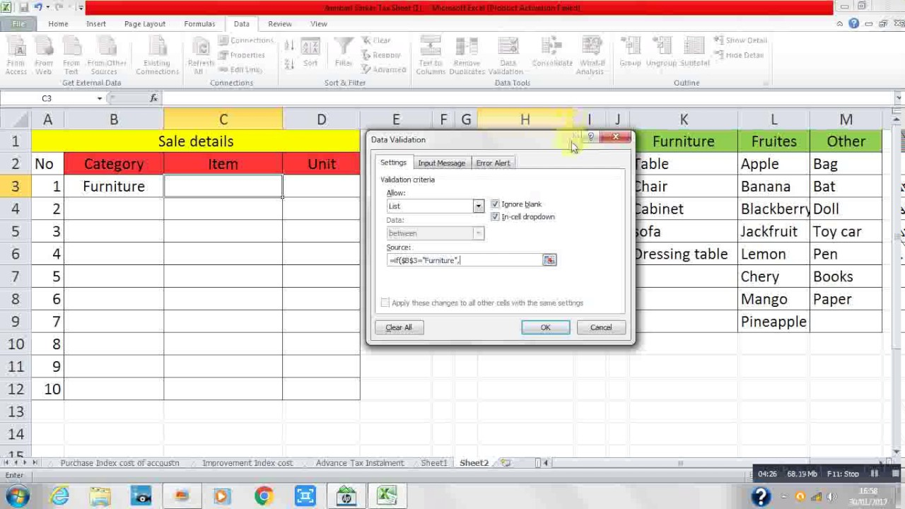 How to use IF function in Data Validation ( Hindi) Excel formula