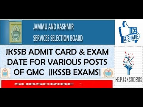 Jkssb Fresh Admit Card Exam Date For Various Posts Of Gmc Jkssb Fresh Exam Dates Youtube