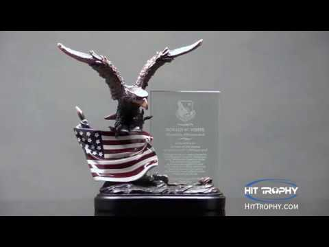 Eagle Sculpture With American Flag & Glass Plate RFB805