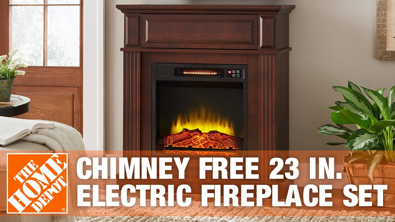 Chimney free Electric Fireplace Set and mantle offers the appeal of a real fireplace without the venting and maintenance requirements.