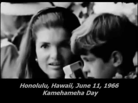 June 11, 1966 - Jacqueline Kennedy and children watching the Kamehameha Day Parade, Hawaii