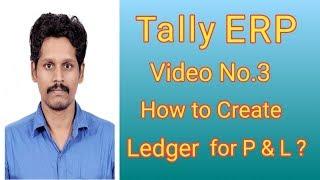 Tally ERP - فيديو رقم 3 - كيفية إنشاء الأستاذ P & L