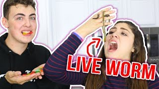 GUMMY FOOD VS REAL FOOD CHALLENGE | eating live WORM???