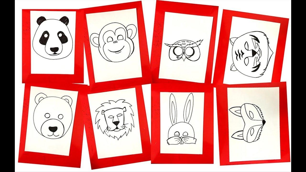 Hướng dẫn cách học tập vẽ mặt nạ các con vật   Học vẽ con vật   Dạy bé học