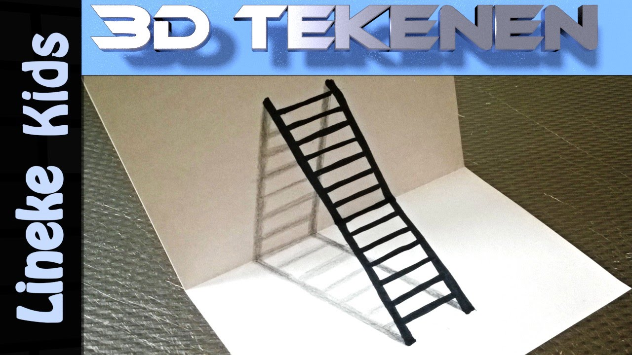 3d tekenen in stappen teken ladder heel makkelijk voor for Tekenen in 3d