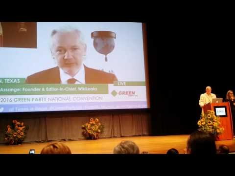 Jullian Assange addressing the Green Party National Convention