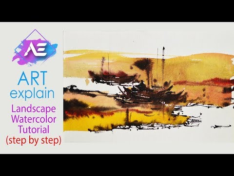 Dawn river Watercolor Landscape Painting Tutorial | How to paint a watercolor river | Art Explain