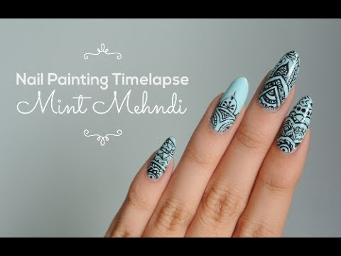 Mint Mehndi Nail Painting Timelapse Youtube