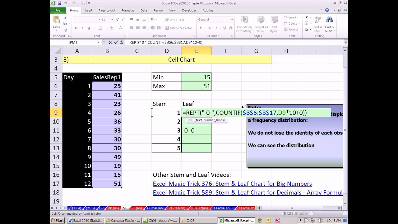 Excel 2010 statistics 20 stem and leaf chart with rept and excel 2010 statistics 20 stem and leaf chart with rept and countifs functions ccuart Choice Image