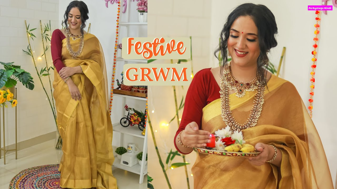 Download Silk Saree Festive Look   Outfit Makeup Hair GRWM   Perkymegs Hindi