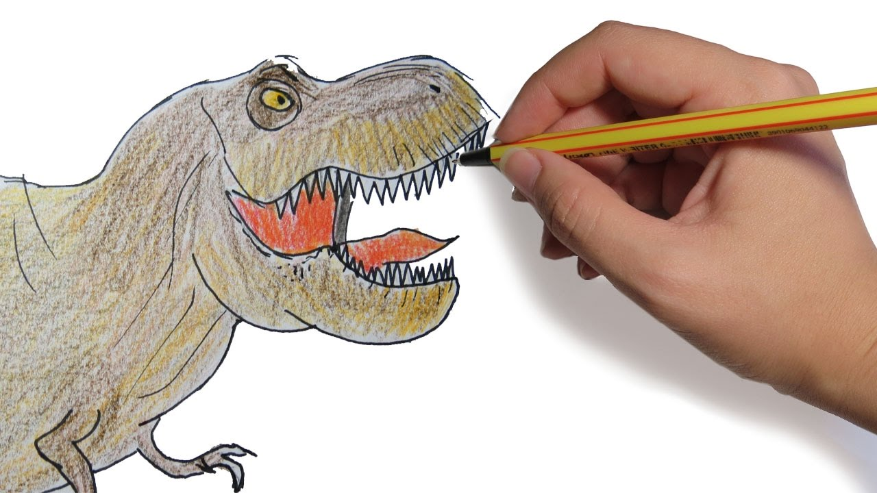 Dibujos De Dinosaurios: COMO DIBUJAR UN DINOSAURIO: Tiranosaurio Rex Facil Paso A