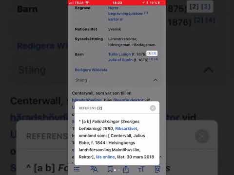 Wikipedia --- SVAR på en IPhone