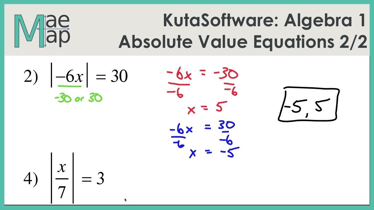Kuta Algebra 1 Absolute Value Equations Part 2