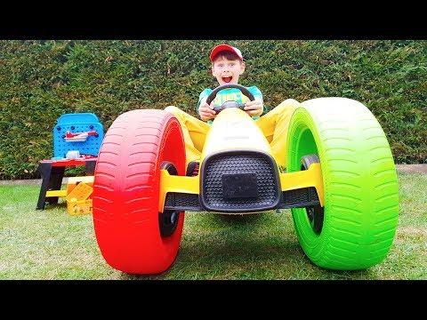ALİ ARABASINI TAMİR ETTİ Kid Ride on Toy Car Burst Power wheels