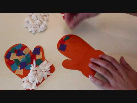 יצירה לחורף כפפות מנייר קרפ crepe paper Gloves DIY