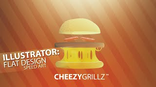 Illustrator Flat Cheese Burger Design Speed Art