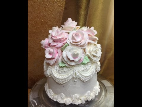 Buttercream Rose Wedding Cake / Cake Decorating - YouTube