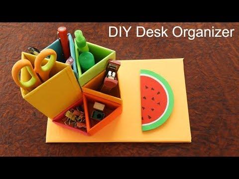 DIY Desk Organizer | DESKTOP ORGANIZER from Cardboard | Desk Decor Ideas  - Back to school
