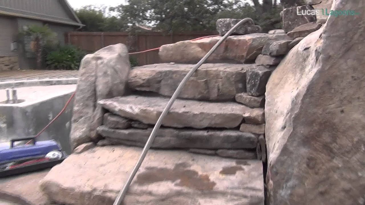 Boulders Around Pool Natural Stone Stairway With Boulders Up To A Rooftop Garden Above