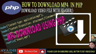 Gambar cover download video file using php | download mp4 file using php | php tutorial | avadh tutor