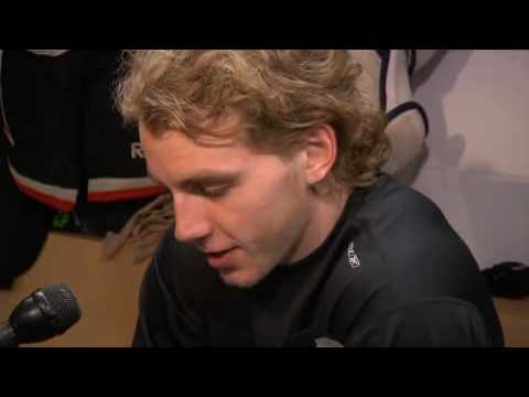 3/2/10 - Patrick Kane being adorable during morning skate