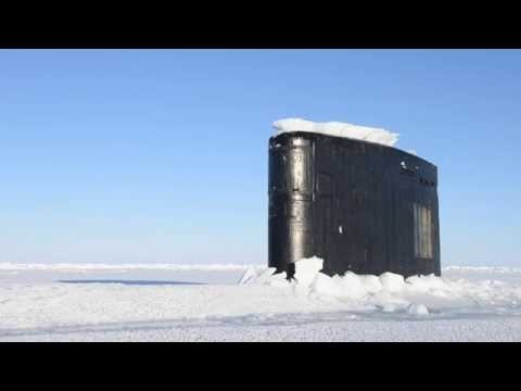 ADVANCED US Navy Submarine breaking though Arctic ICE