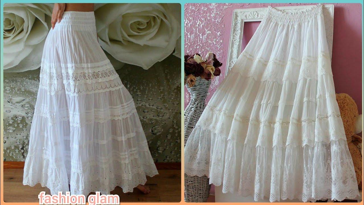 westar white frills long maxi cotton lace skirts/boho skirts styles/tiered skirts