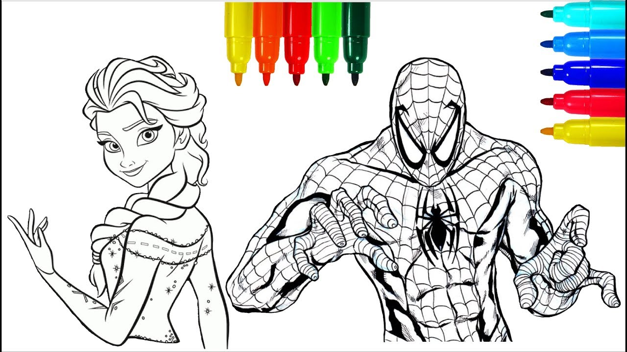 Elsa And Spiderman Coloring Pages Colouring Pages For Kids With