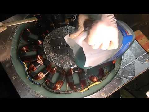 Pouring the resin into my 12coil ( 1kw) wind turbine stator