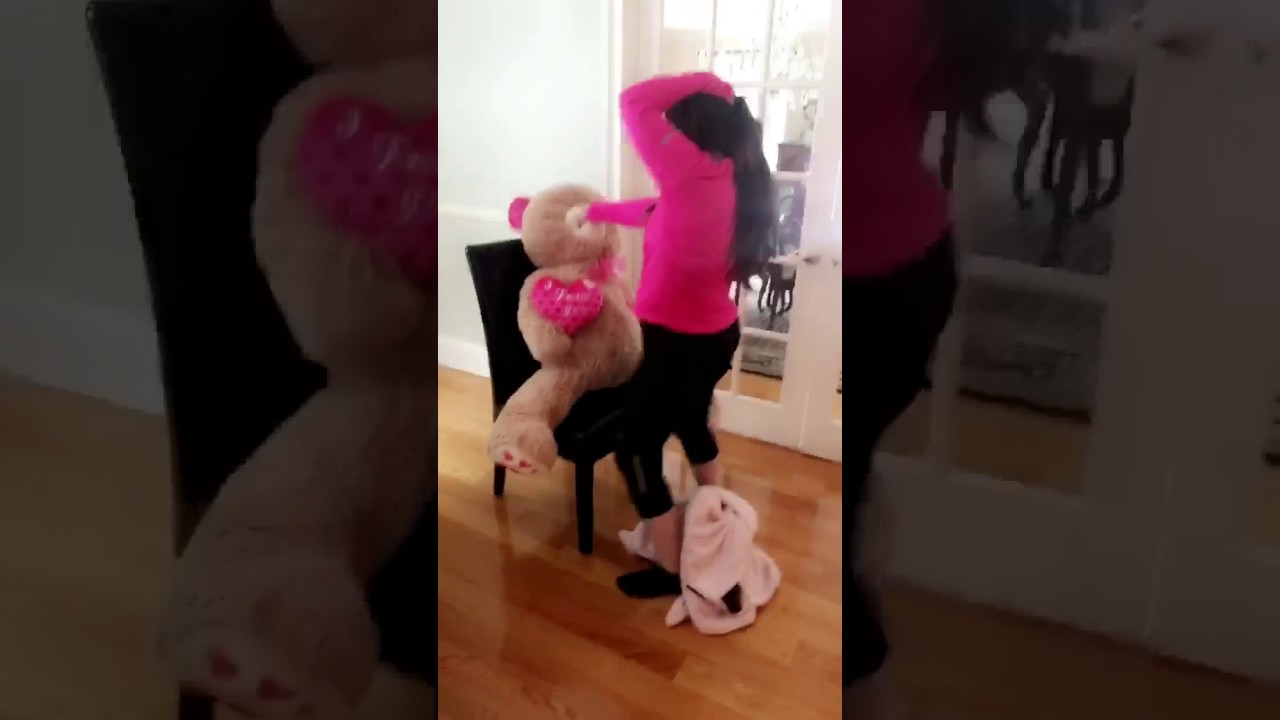 Girl grinds on teddy bear, young looking girl fucked