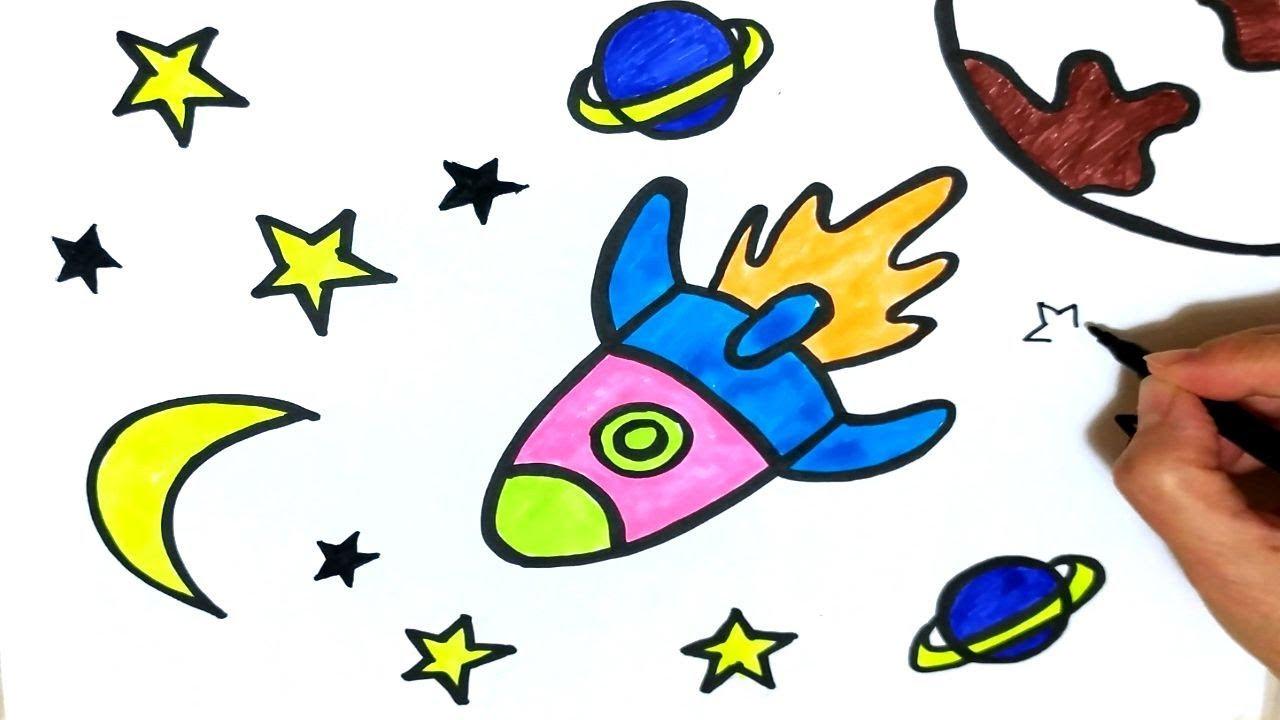 Uzay Roketi çizimi Ve Gezegenler Boyama Sayfası Youtube