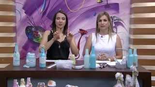 Garrafa de vidro com decoração Shabby Chic – PT1- Camila Claro de Carvalho