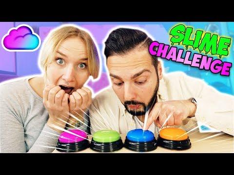 DRÜCK NICHT DEN FALSCHEN KNOPF SCHLEIM CHALLENGE 2 Nina VS Kaan - Don't push the wrong button Slime