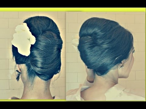 ★HAIR TUTORIAL HAIRSTYLES WITH BIG BOUFFANT - FRENCH TWIST YOUR OWN MEDIUM LONG HAIR |WEDDING UPDOS