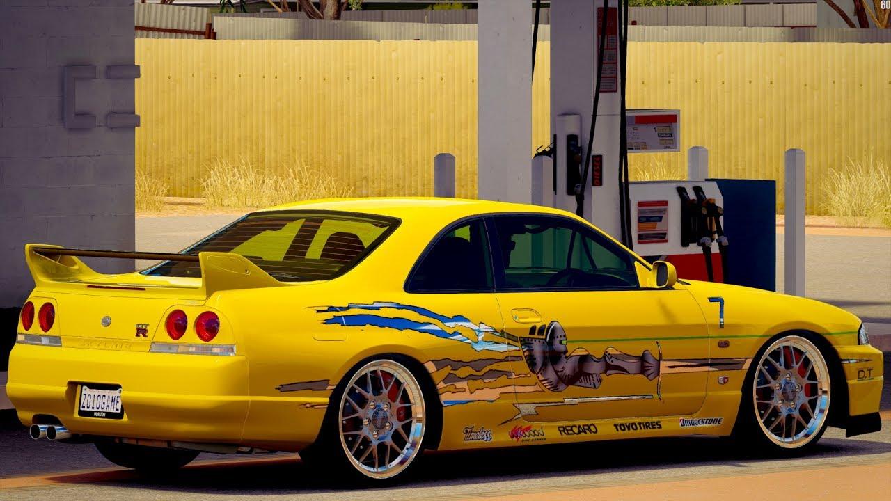 Nissan Gtr Fast And Furious >> Velozes e Furiosos - Forza Horizon 3 GoPro - Nissan Skyline R33 GT-R V-SPEC - G27 - YouTube