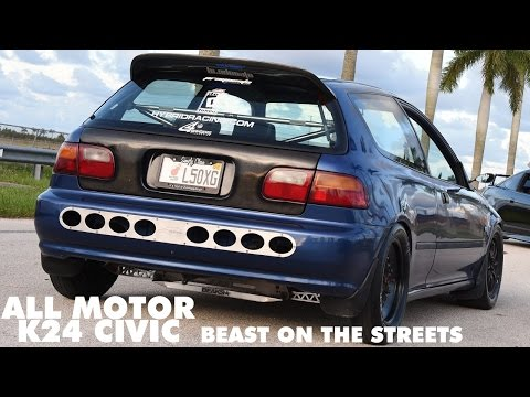 Monster built K24 Civic ripping through Miami streets