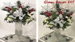 Dollar Tree DIY Glam Frosted Vase Tall Christmas Centerpiece