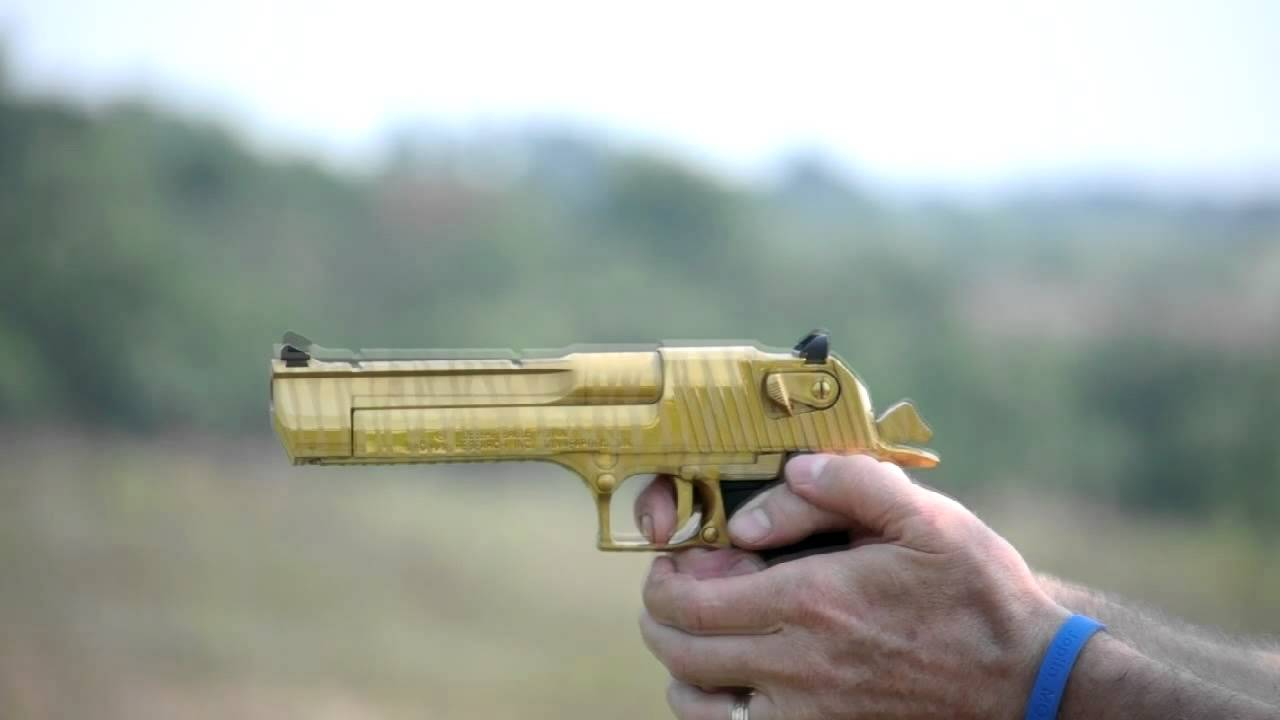 Shooting The Gold Tiger Stripe Desert Eagle In 50ae Youtube
