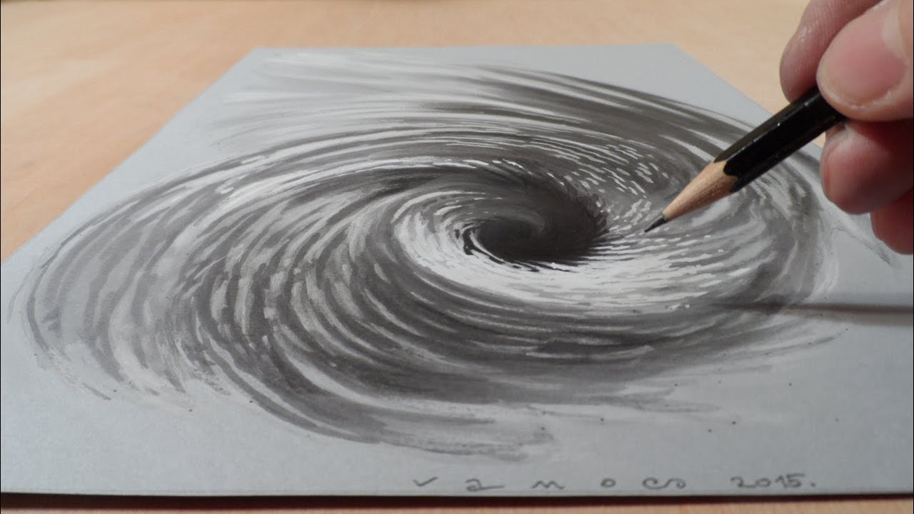 Drawing 3D Vortex - How to Draw Hole Illusion - 3D Trick ...