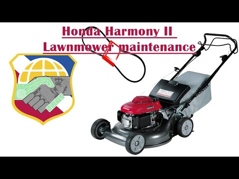 Honda Harmony II Lawnmower maintenance HRR216 mower Replace self-propel drive belt & change oil