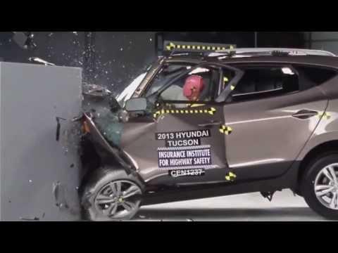 IIHS 2013 Hyundai Tucson ix35 small overlap crash test POOR EVALUATION