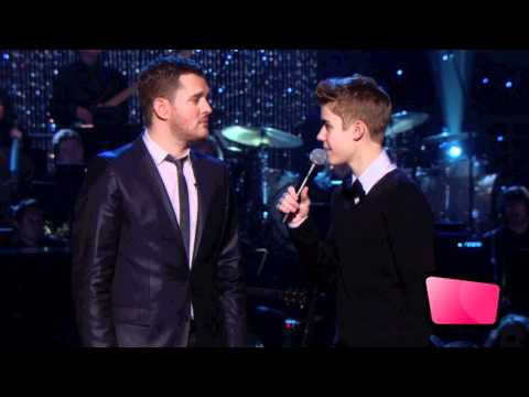 Michael Buble Introduces Justin Bieber At A MIchael Buble Christmas Special